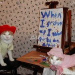 Two of my cats, Patrick and Esther painting. 2007