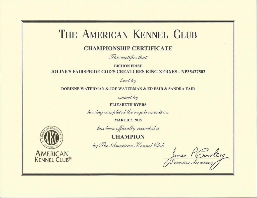 Xerxes' Championship Certificate