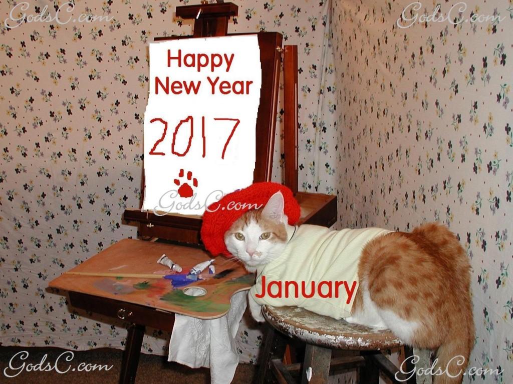 January Kitty cat painting 2017